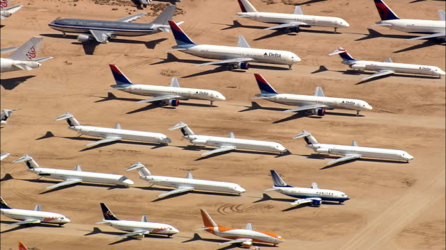 airplane graveyard  - aerial view - california,  san bernardino county,  united states - air vehicle stock videos & royalty-free footage
