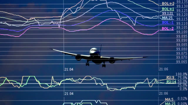 Airplane landing and charts and graphs