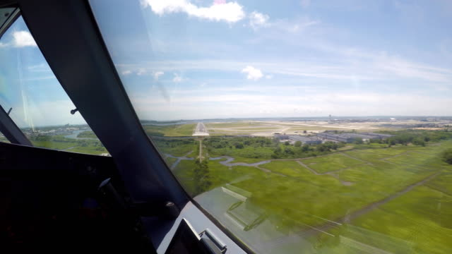 airplane landing at jfk new york airport (pov shot) - kennedy airport stock videos & royalty-free footage
