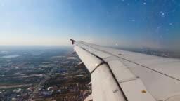 Airplane landing at Suvarnabhumi Airport,Bangkok,Thailand