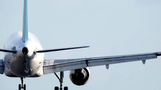 airplane landing at the airport. - landing touching down stock videos & royalty-free footage