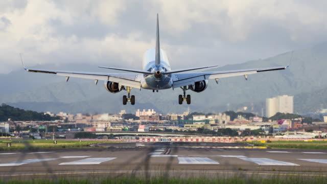 Airplane Landing in Taipei Songshan Airport, Taipei, Taiwan