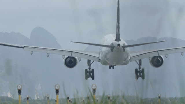 Airplane landing in the mornig.