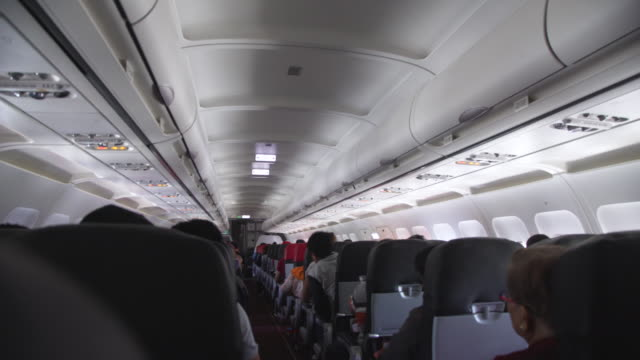 vidéos et rushes de airplane landing indoors point of view - aircraft point of view