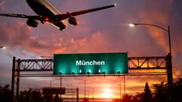 Airplane Landing Munchen during a wonderful sunrise.deutsche