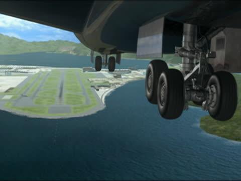 Airplane landing on runway, animation, ECU