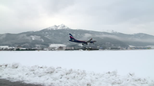 Airplane landing on the Innsbruck airport