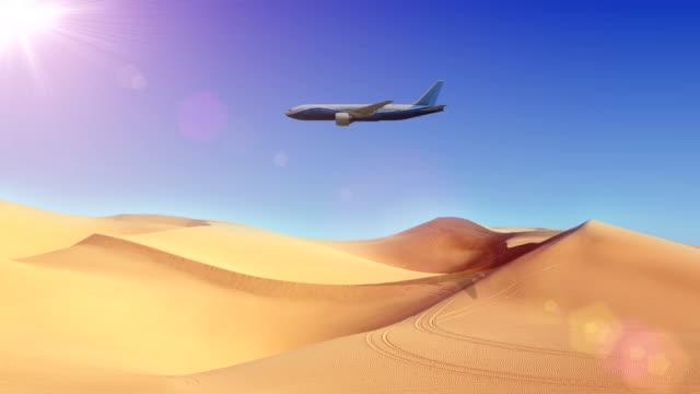 Flugzeug auf Wüste 4K