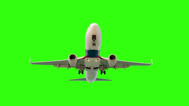 Airplane on green screen