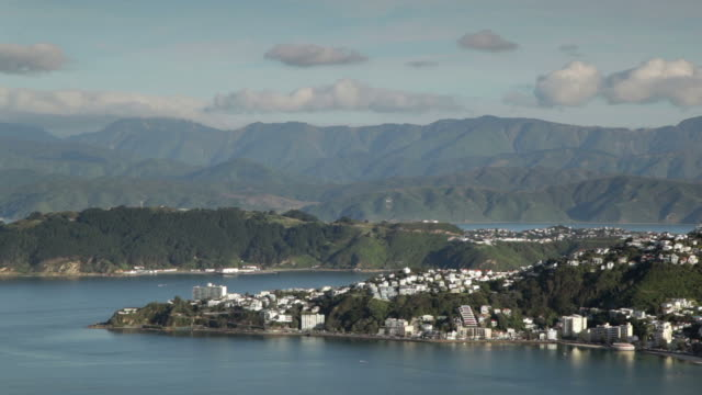 Airplane over Wellington harbor, New Zealand