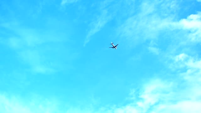 Airplane passing in blue sky