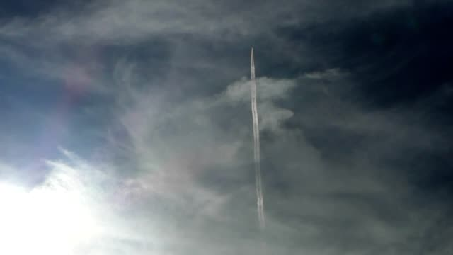 airplane passing the sky - clear sky stock videos & royalty-free footage