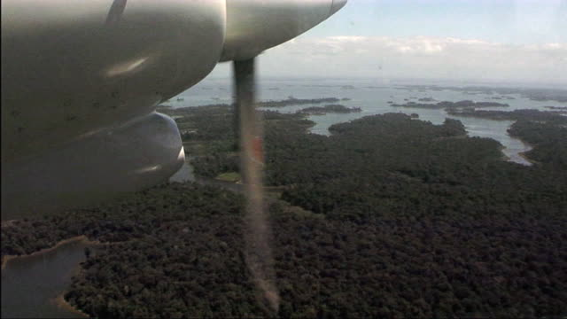 cu pov airplane propeller cruising over forest / nu aurora, suriname - nu stock videos & royalty-free footage