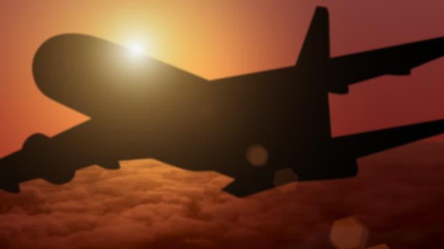 vliegtuig silhouet bij zonsondergang