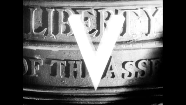/ airplane squadrons flying overhead / liberty bell swinging and 'v' for victory appearing onscreen wwii 'v' for victory on january 01 1943 in... - 1943 stock videos & royalty-free footage