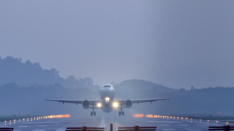 airplane take off at dusk. - moving activity stock videos & royalty-free footage
