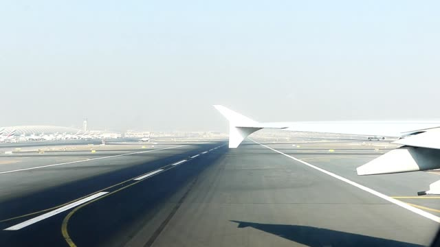 Airplane taking off at Dubai airport