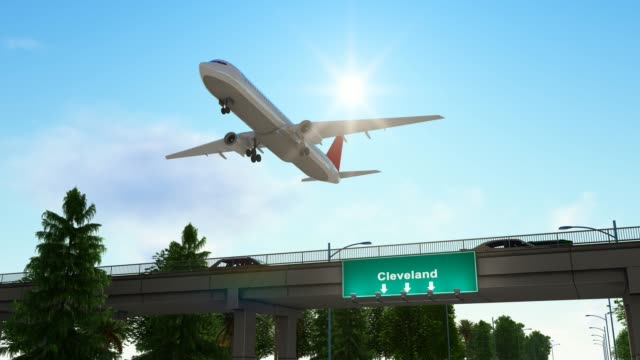 airplane taking off from cleveland airport united states - pinaceae stock videos & royalty-free footage