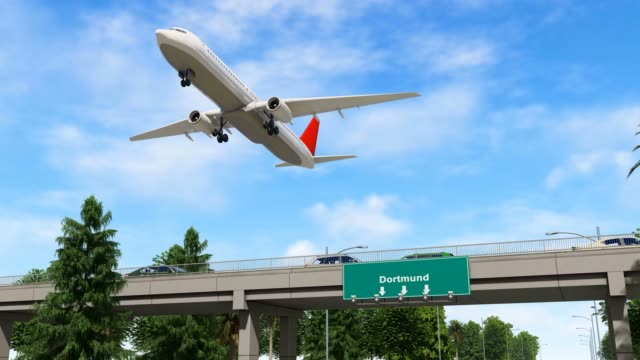 airplane taking off from dortmund airport germany - dortmund city stock videos and b-roll footage