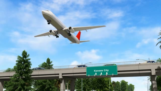 airplane taking off from kansas city airport united states - pinaceae stock videos & royalty-free footage