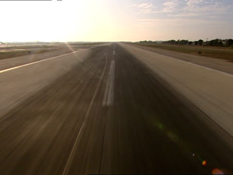 POV airplane taking off from runway, Los Angeles International Airport, Los Angeles, California, USA