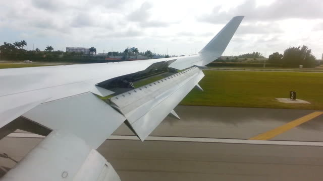 Airplane touching down- view from window