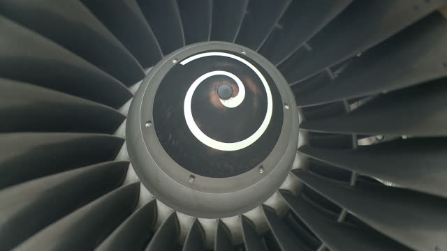 CU Airplane turbine engine revolving / Findel-Airport, Luxembourg, Luxembourg-City, Luxembourg