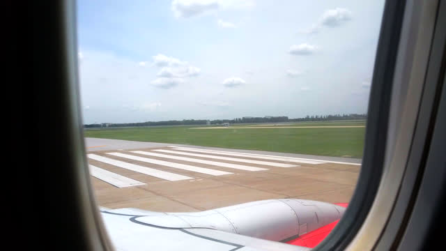 airplane turns to the runway preparing to take off - taxi stock videos & royalty-free footage