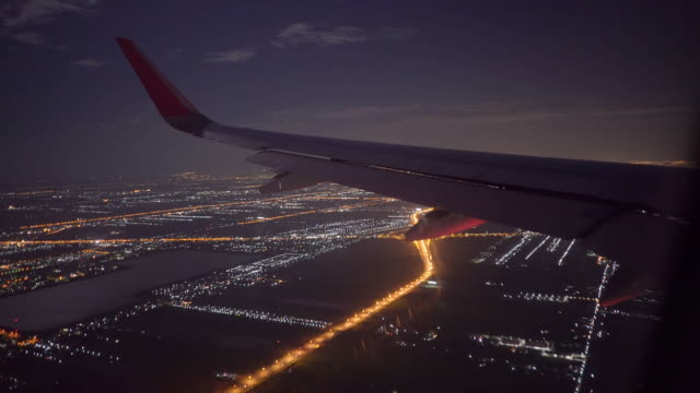 Airplane Wing in Night Flight