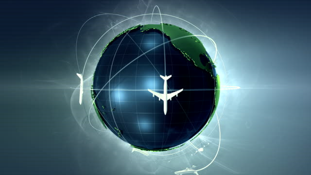 airplanes flying around earth - looping - travel destinations stock videos & royalty-free footage
