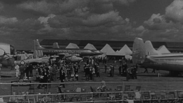 1950 montage airplanes on the ground and passengers disembarking at the airport, and whitney straight / united kingdom - raf stock videos & royalty-free footage