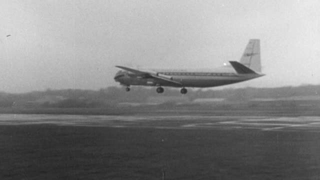 1965 montage airplanes taking off from airstrips, with dr. beeching narrating / united kingdom - narrating stock videos & royalty-free footage