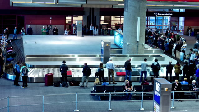 HA T/L airport baggage claim carousel delivering checked luggage to passengers standing and waiting for their bags to arrive / Las Vegas, Nevada, USA