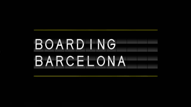 airport departure board and boarding barcelona - runaway stock videos & royalty-free footage