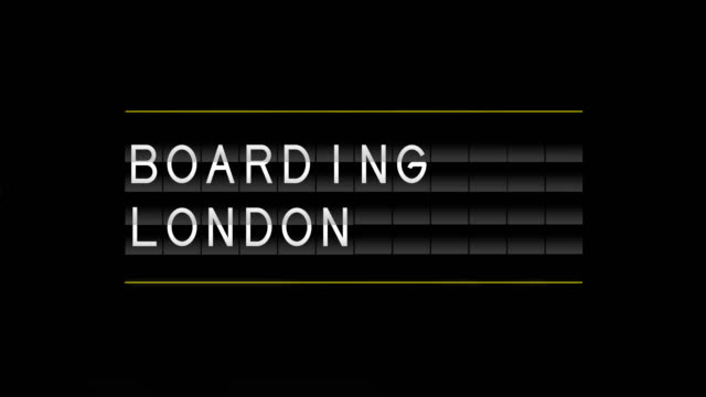 airport departure board and boarding london - blackboard stock videos and b-roll footage