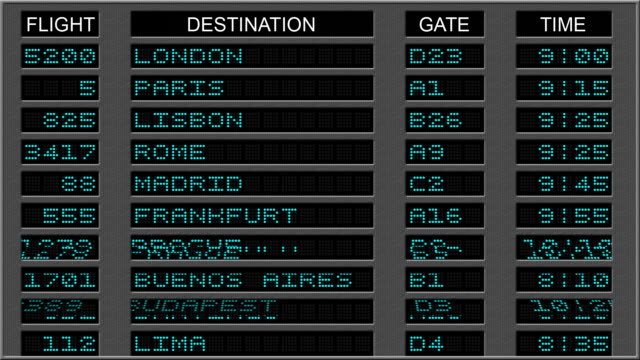 Airport Departure Board - Blue