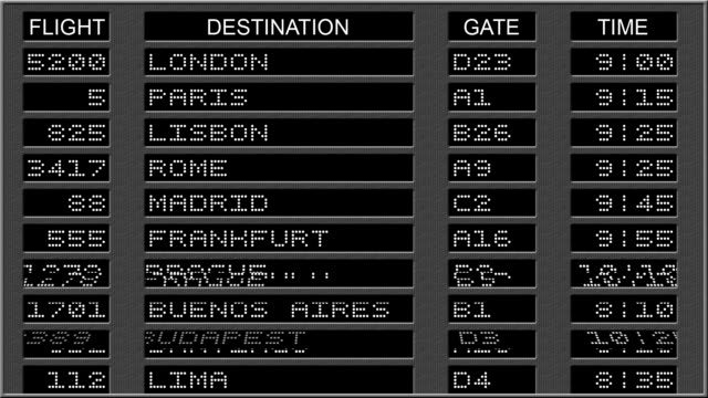 airport departure board - b&w - arrival departure board stock videos and b-roll footage