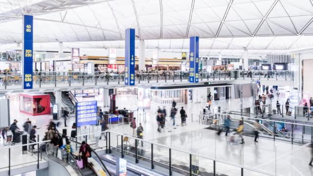 t/l ws zo airport departure lounge / hong kong, china - hong kong international airport stock videos and b-roll footage