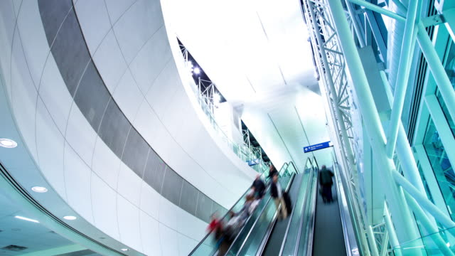 airport escalators - timelapse - dallas fort worth airport stock videos & royalty-free footage