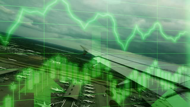 uk airport flight take off scene with positive growth chart and graph data. concept piece to indicate improving tourism, gdp, stock market crash, recession, depression, inflation, deflation, bull market, good national economic and business performance - bull market stock videos & royalty-free footage