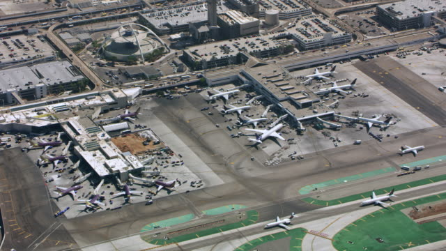 aerial airport in ca, usa - airport runway stock videos & royalty-free footage