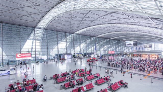 t/l ws ha airport interior / chengdu, sichuan, china - airport departure area stock videos & royalty-free footage