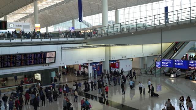 airport interior / hong kong, china - hong kong international airport stock videos & royalty-free footage