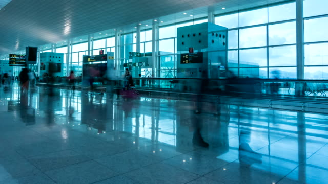 airport of barcelona time lapse - airline check in attendant stock videos and b-roll footage
