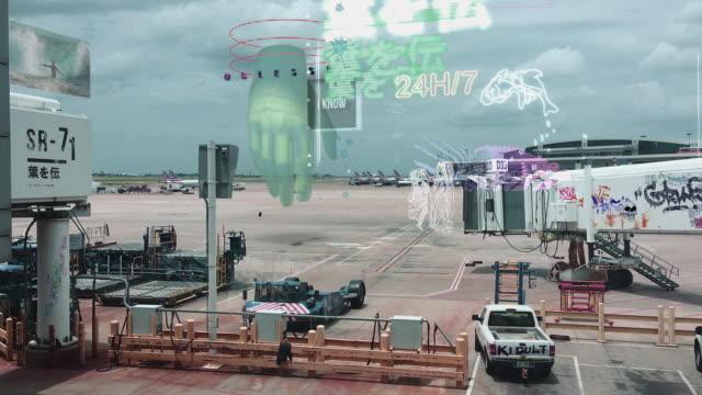 vídeos de stock e filmes b-roll de airport of the future - concept. airport graphic design. - segurança de rede