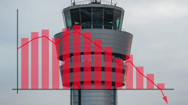 vidéos et rushes de airport radar tower aviation industry scene with a graph overlay showing failure, poor performance or crisis. inferring negative loss of money - limite