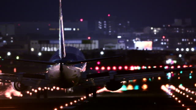 airport runway at night - airport runway stock videos & royalty-free footage