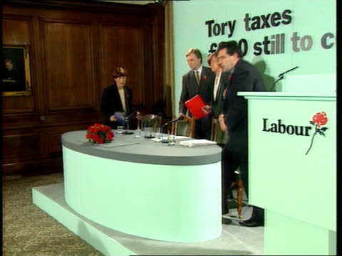 Airport tax launch/Interest rate rise possible ENGLAND London Vauxhall Bridge Road Vars shots Labour Economics team unveil new poster 'What will the...
