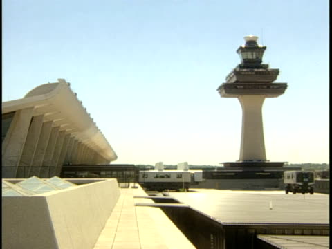 ms, airport terminal and control tower,  dulles international airport, dulles, virginia, usa - dulles international airport stock videos and b-roll footage