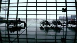 Airport Terminal Gate dolly shot